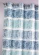 Rideau Bouchara en jacquard à rayures horizontales fantaisies  Pétrole