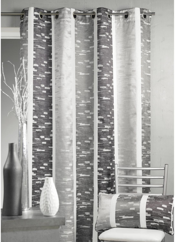 rideau en jacquard design rayures verticales gris bordeaux beige homemaison vente. Black Bedroom Furniture Sets. Home Design Ideas