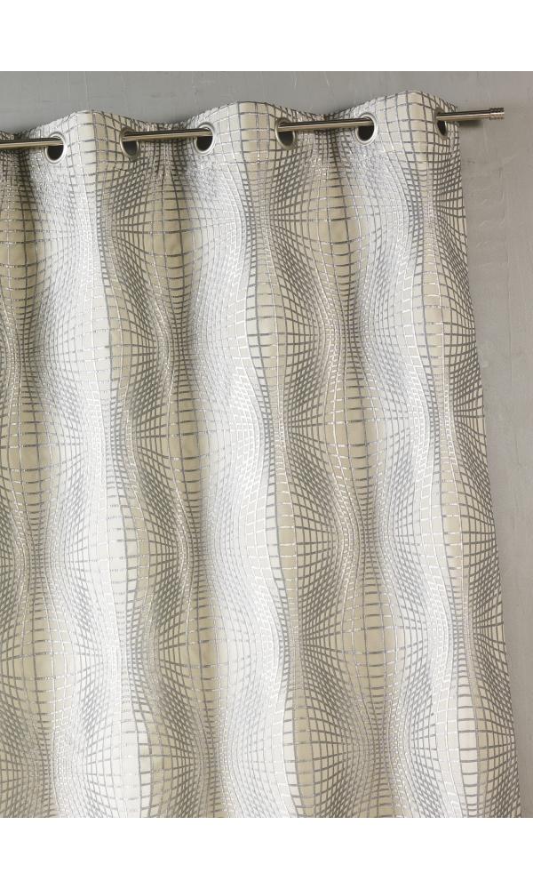 rideau bouchara en jacquard imprim s graphiques argent homemaison vente en ligne rideaux. Black Bedroom Furniture Sets. Home Design Ideas