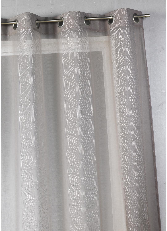 Voilage en étamine à rayures verticales graphiques  (Gris)