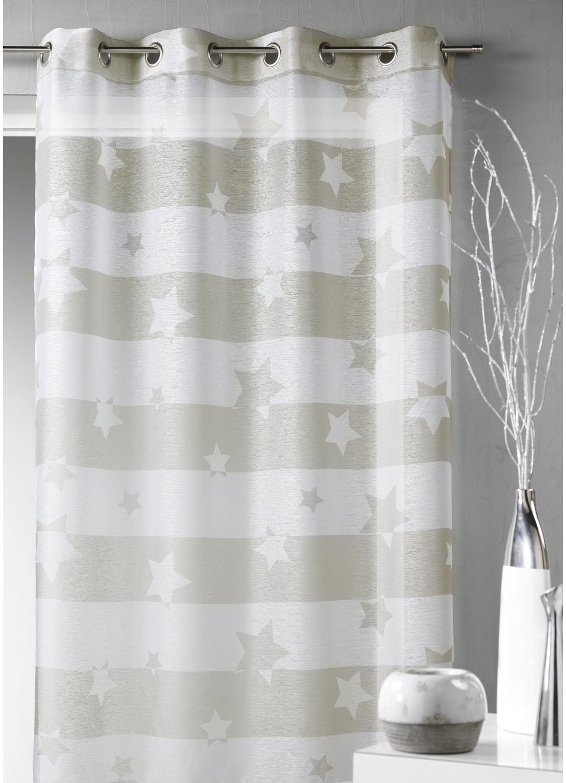 Voilage en étamine à rayures horizontales et motifs étoilés (Beige)