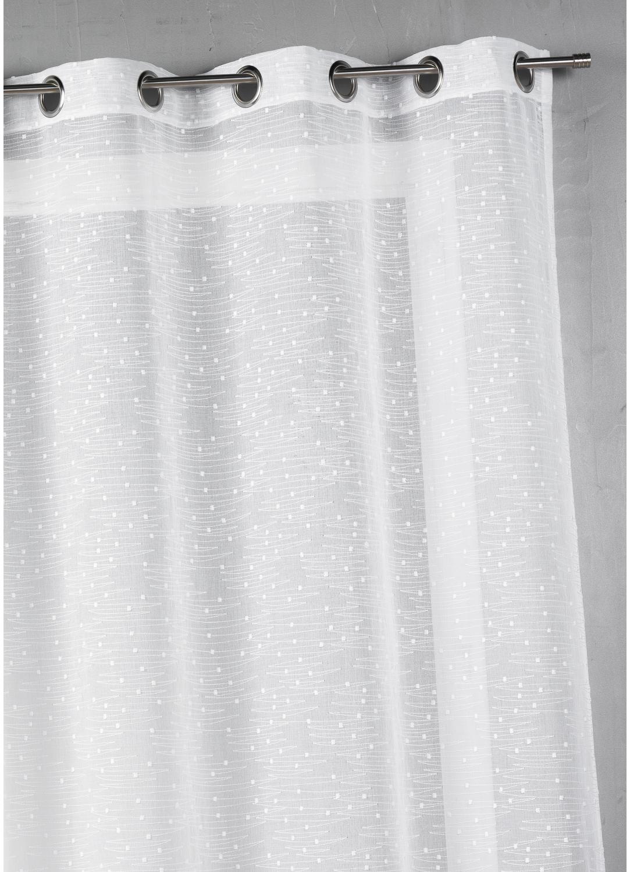 Voilage étamine brodée fantaisie (Blanc)
