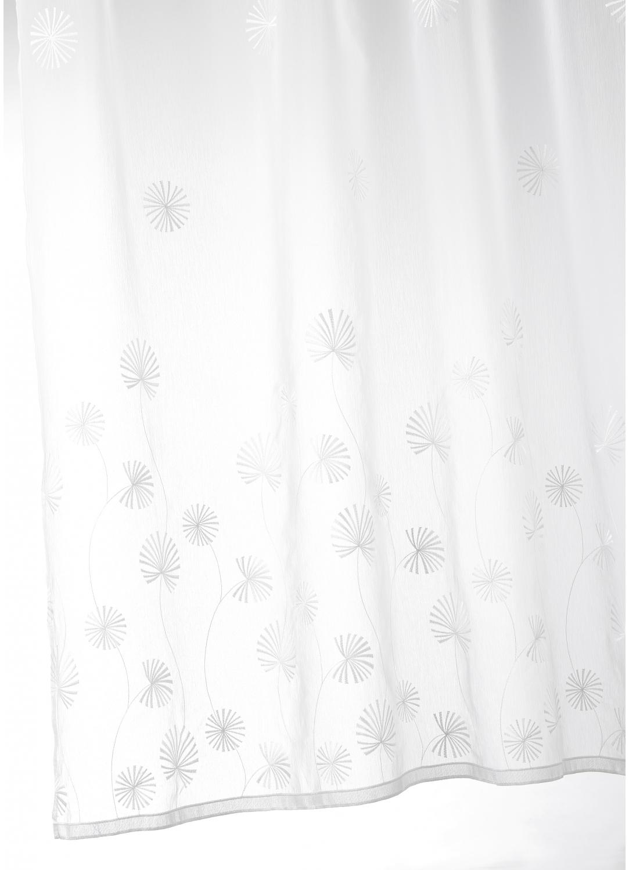 Voilage en étamine brodée fantaisie nature (Blanc)