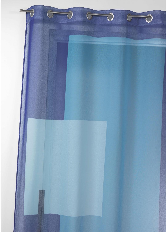 Voilage en étamine imprimée à motifs graphiques (Bleu)