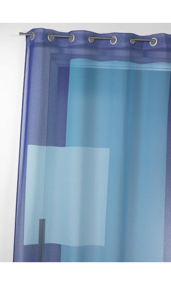 Voilage en étamine imprimée à motifs graphiques - Bleu - 135 x 240cm
