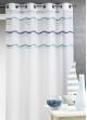 Voilage en jacquard à rayures horizontales ondulées Bleu