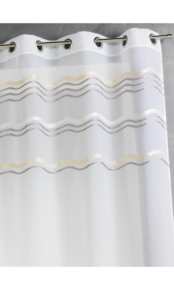 Voilage en jacquard à rayures horizontales ondulées (Taupe)