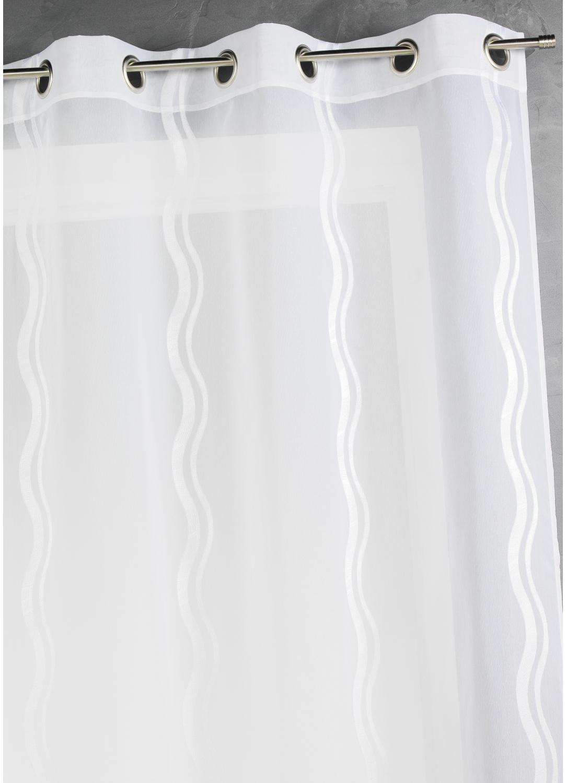 Voilage en jacquard à rayures verticales ondulées (Blanc)