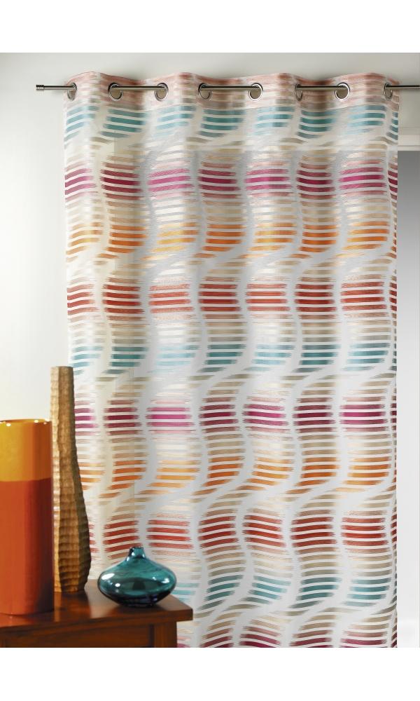 Voilage en jacquard fantaisie à rayures verticales ondulées (Multicolore)