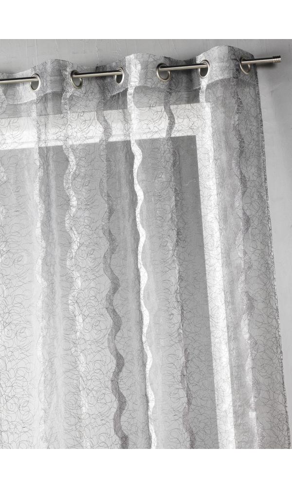 Voilage en organza brodé à rayures verticales (Gris)