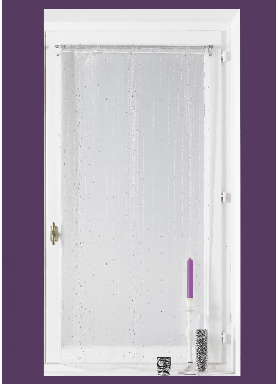 Voilage vitrage en organza fantaisie goutte d eau m tallique blanc gris - Voilage organza blanc ...