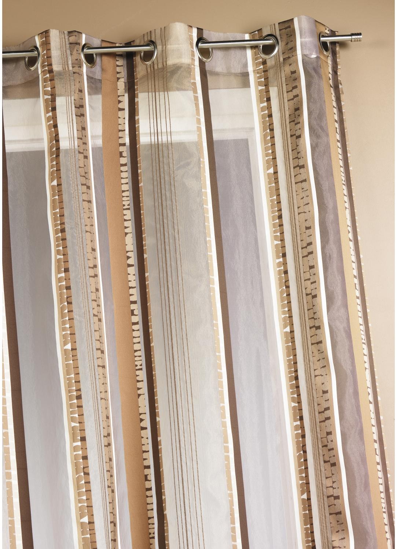 Voilage en organza jacquard à rayures verticales colorées (Chocolat)
