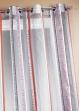 Voilage en organza jacquard à rayures verticales colorées  Gris
