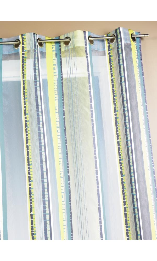Voilage en organza jacquard à rayures verticales colorées (Pétrole)