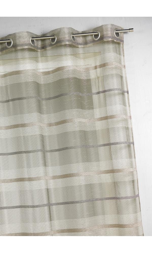 Voilage fantaisie à rayures horizontales de différentes tailles - Taupe - 140 x 240 cm