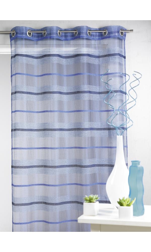 Voilage fantaisie à rayures horizontales de différentes tailles - Outre mer - 140 x 240 cm