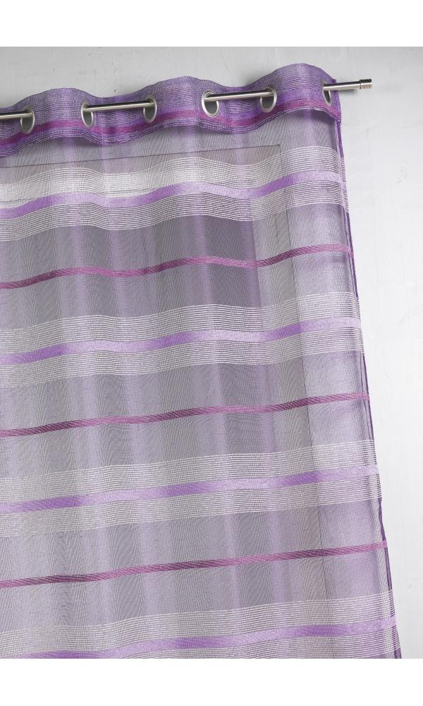 Voilage fantaisie à rayures horizontales de différentes tailles - Figue - 140 x 240 cm