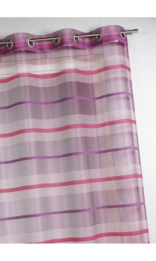 Voilage fantaisie à rayures horizontales de différentes tailles - Framboise - 140 x 240 cm
