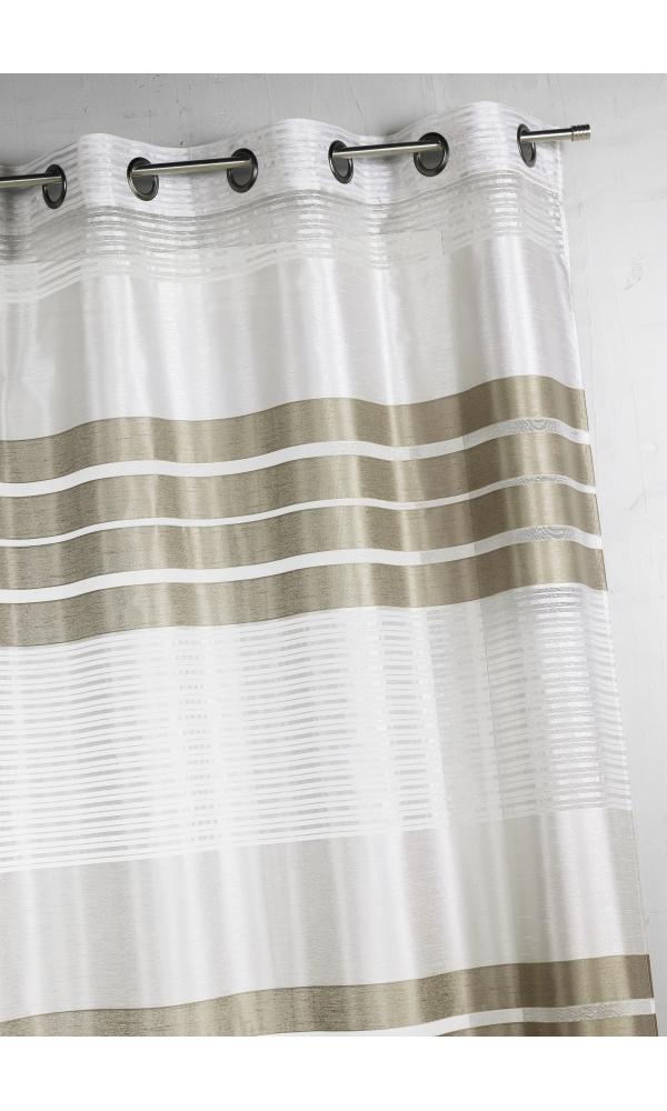 Voilage fantaisie à rayures horizontales - Taupe - 140 x 240 cm