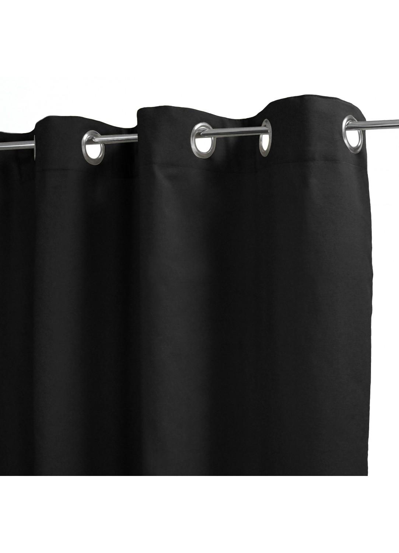 Rideau 100% Coton Uni à Légers Reliefs (Noir)