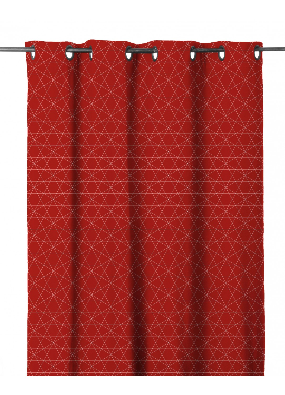 Rideau en Etamine à Imprimés Graphiques (Rouge)