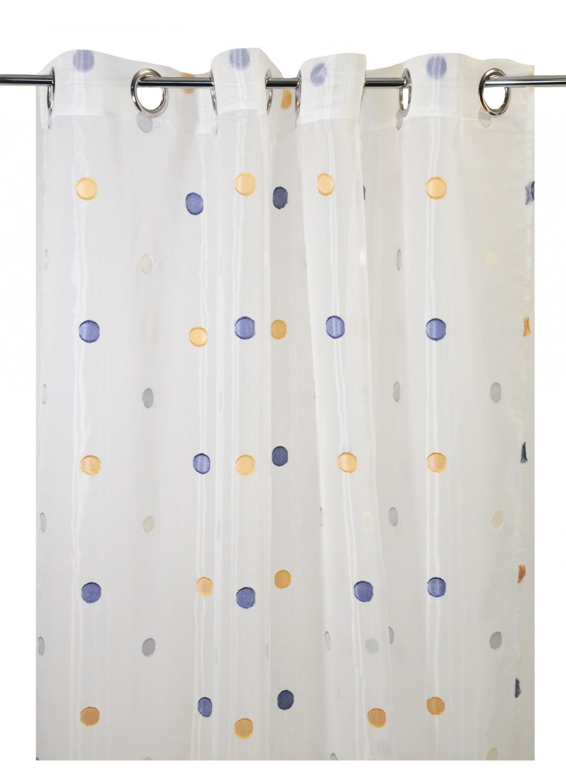 voilage en etamine pois fantaisie blanc gris blanc naturel blanc safran blanc. Black Bedroom Furniture Sets. Home Design Ideas