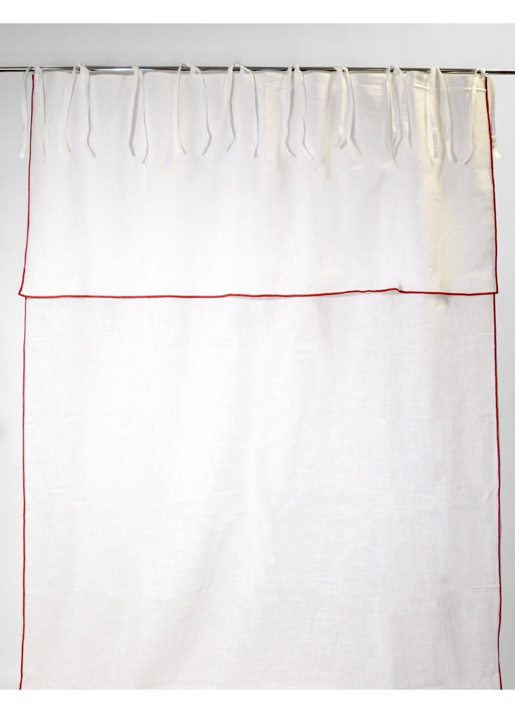 Rideau en Pur Coton à Parement Haut et Nouettes (BLANC/ROUGE)