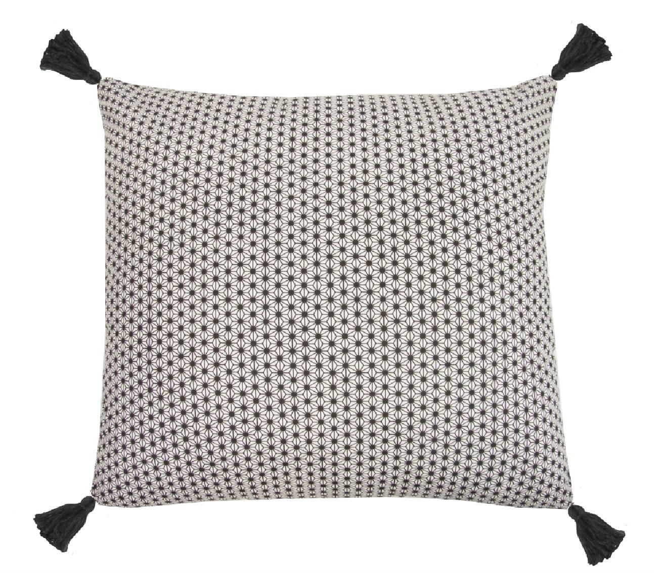 Coussin Design en Coton à Pompons (Lin)