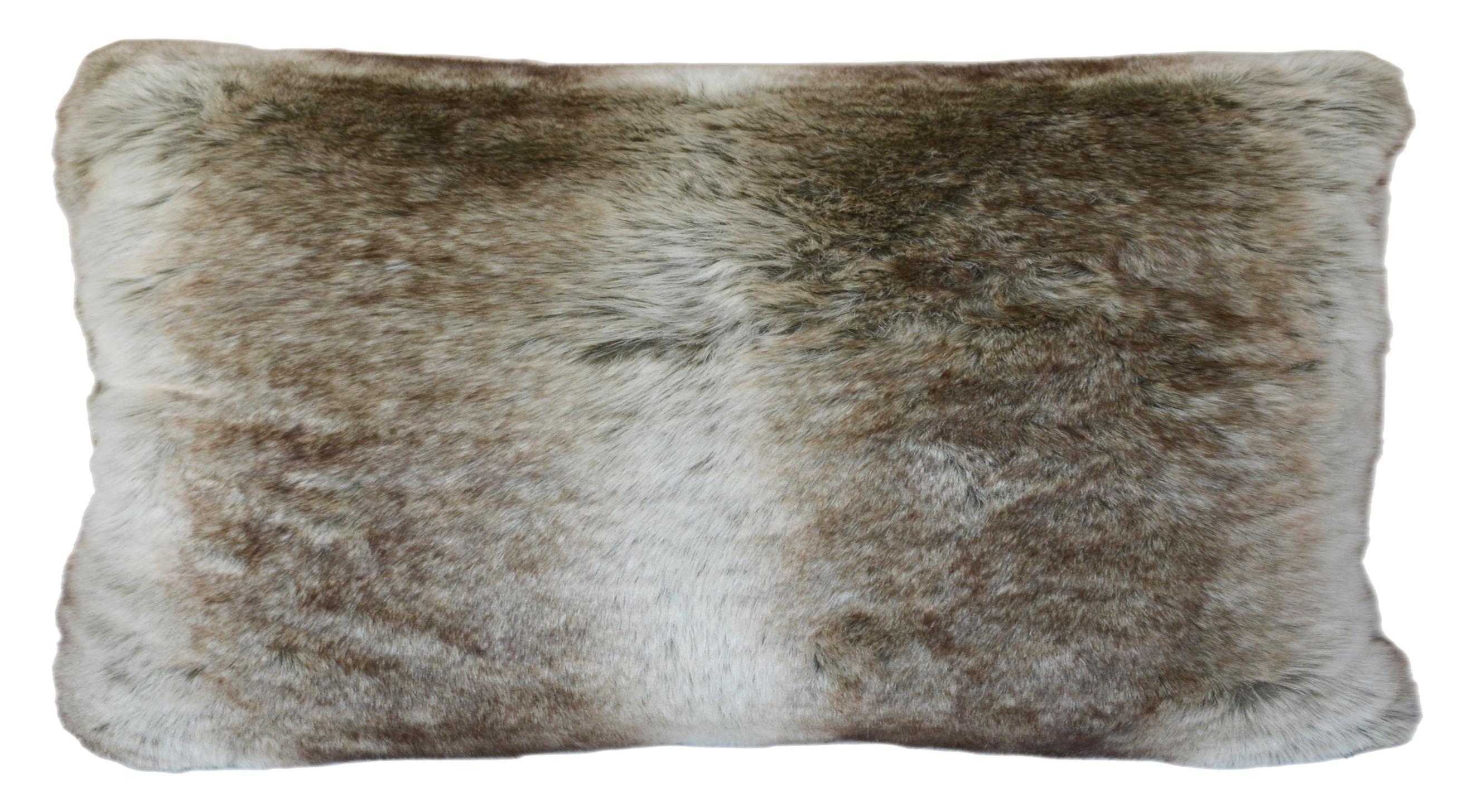 Coussin rectangulaire en fourrure 30 x 50 cm gris for Housse coussin 50 x 60
