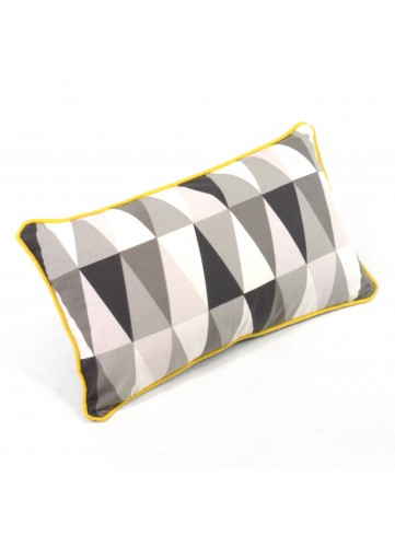 Coussin Design en Coton à Imprimés Triangulaires (Gris liseré jaune)
