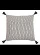 Coussin Design en Coton à Pompons Lin
