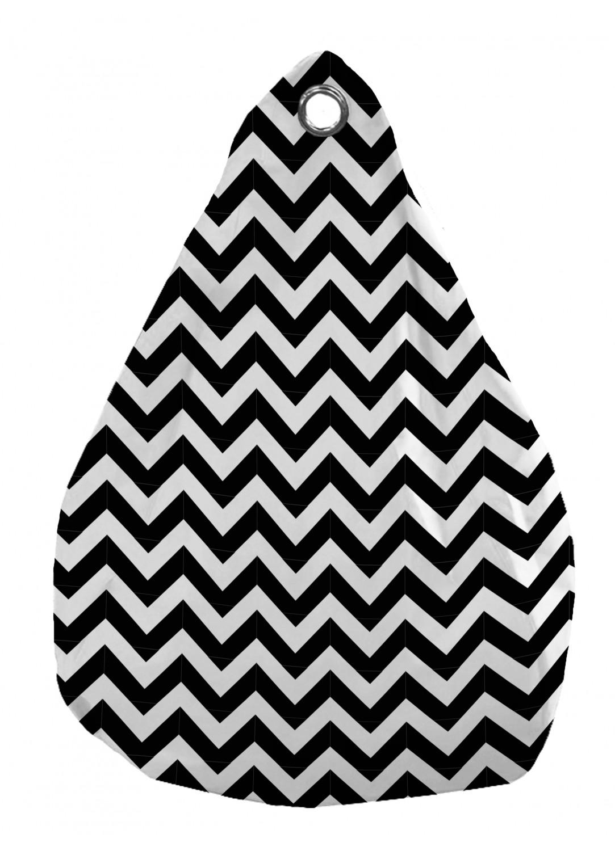 Pouf Poire Outdoor microbille motifs chevrons (Noir / Blanc)