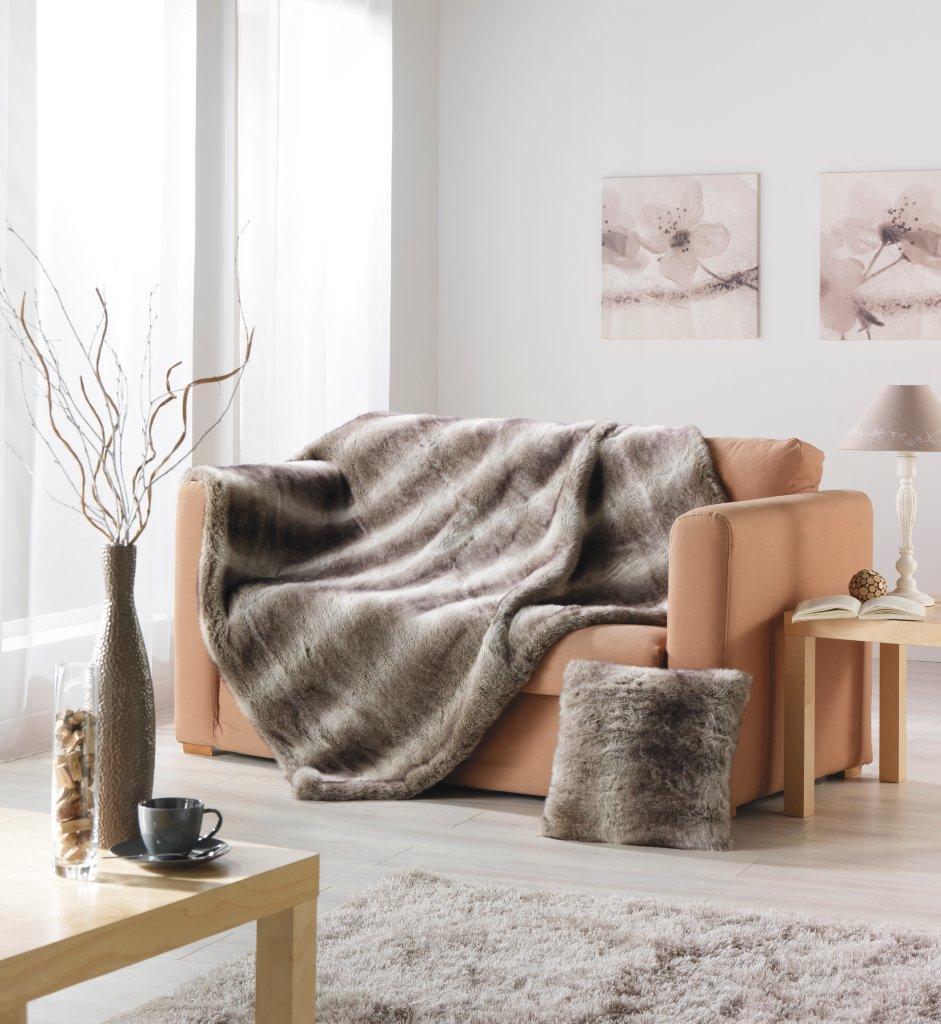 Plaid en Fourrure 'Loup' brun doublé velours - Brun - 125 x 150 cm