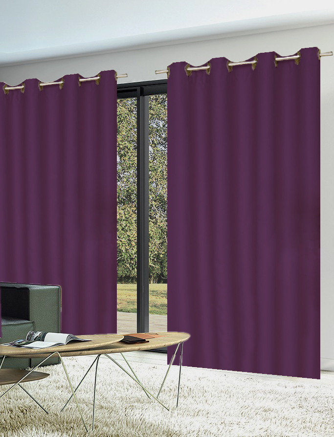 paire de rideaux 80 occultants unis violet noir blanc bordeaux beige rouge. Black Bedroom Furniture Sets. Home Design Ideas