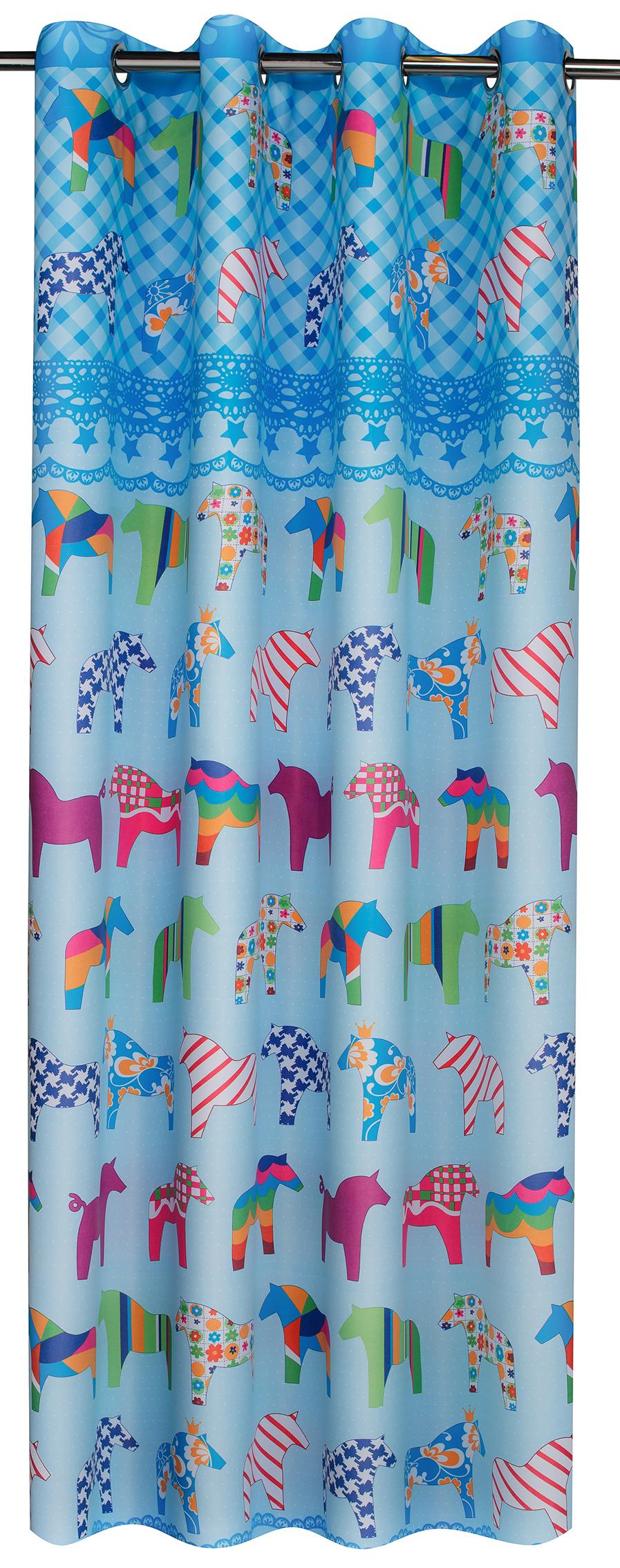 rideau pour chambre d enfant motifs petits chevaux rose homemaison vente en ligne rideaux. Black Bedroom Furniture Sets. Home Design Ideas