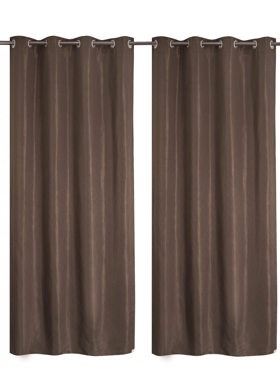 paire de rideaux tamisants faux uni chocolat noir. Black Bedroom Furniture Sets. Home Design Ideas