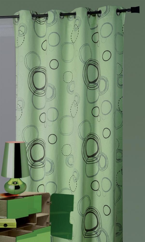 Rideau 100% Occultant Imprimé Cercles Anis