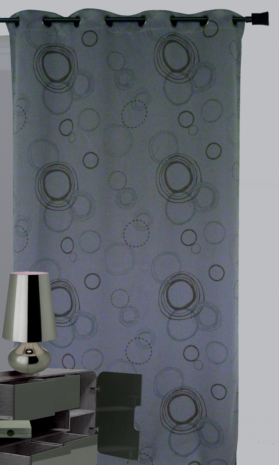 rideau 100 occultant imprim cercles gris gris. Black Bedroom Furniture Sets. Home Design Ideas