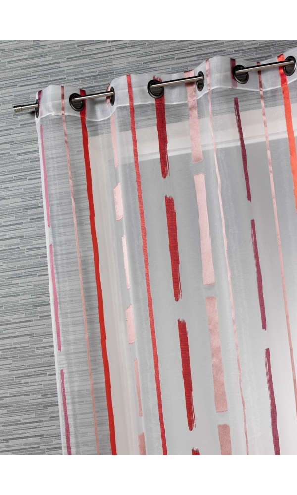 Voilage Tendance Rayures Verticales (Corail)