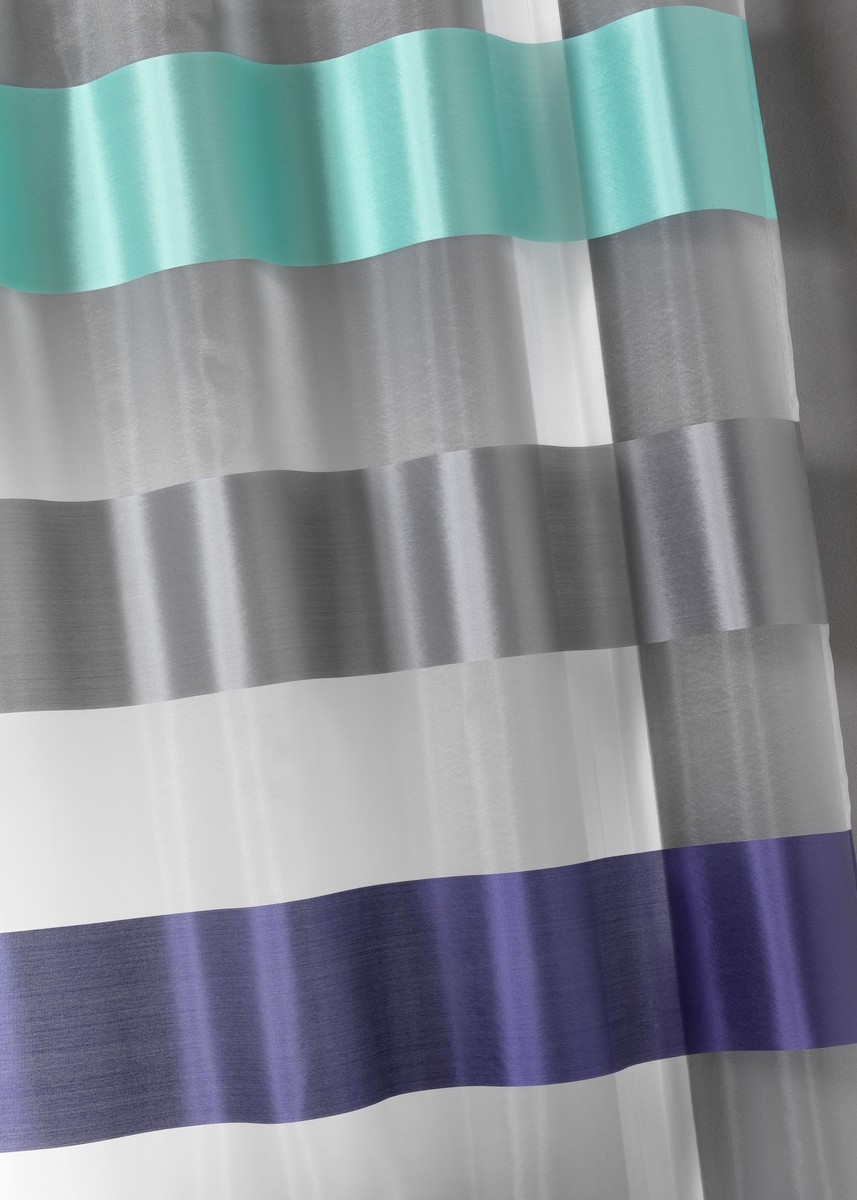 Voilage Bi-Matière Contemporain (Bleu)