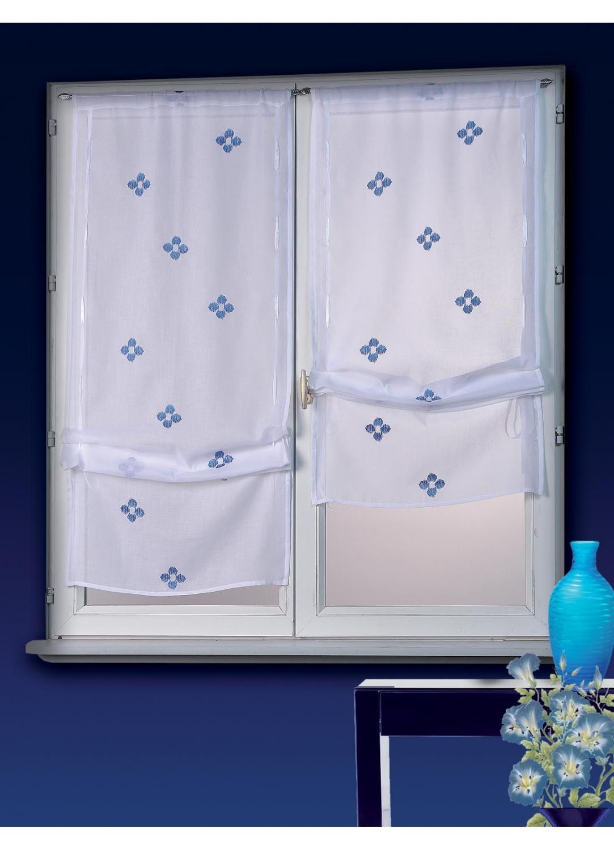 Vitrage à Remonter Etamine Bleu et Blanc (blanc / bleu)