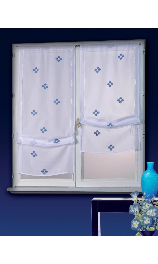Vitrage blanc bleu homemaison vente en ligne petits voilages vitrages - Voilage vitrage sur mesure ...