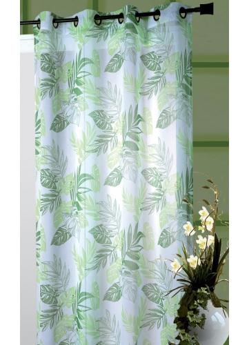 Voilage Etamine Imprimée Tropical Blanc/Vert