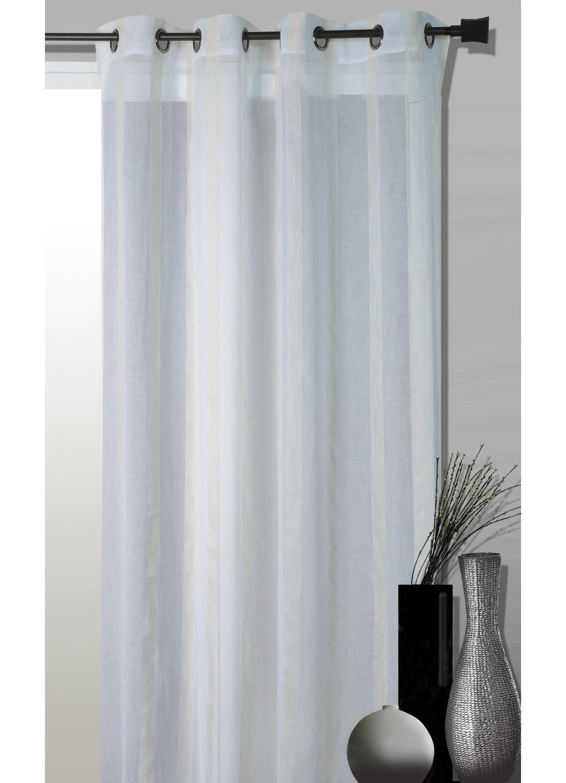 Voilage Fantaisie Tissée Rayures Blanc (Blanc)