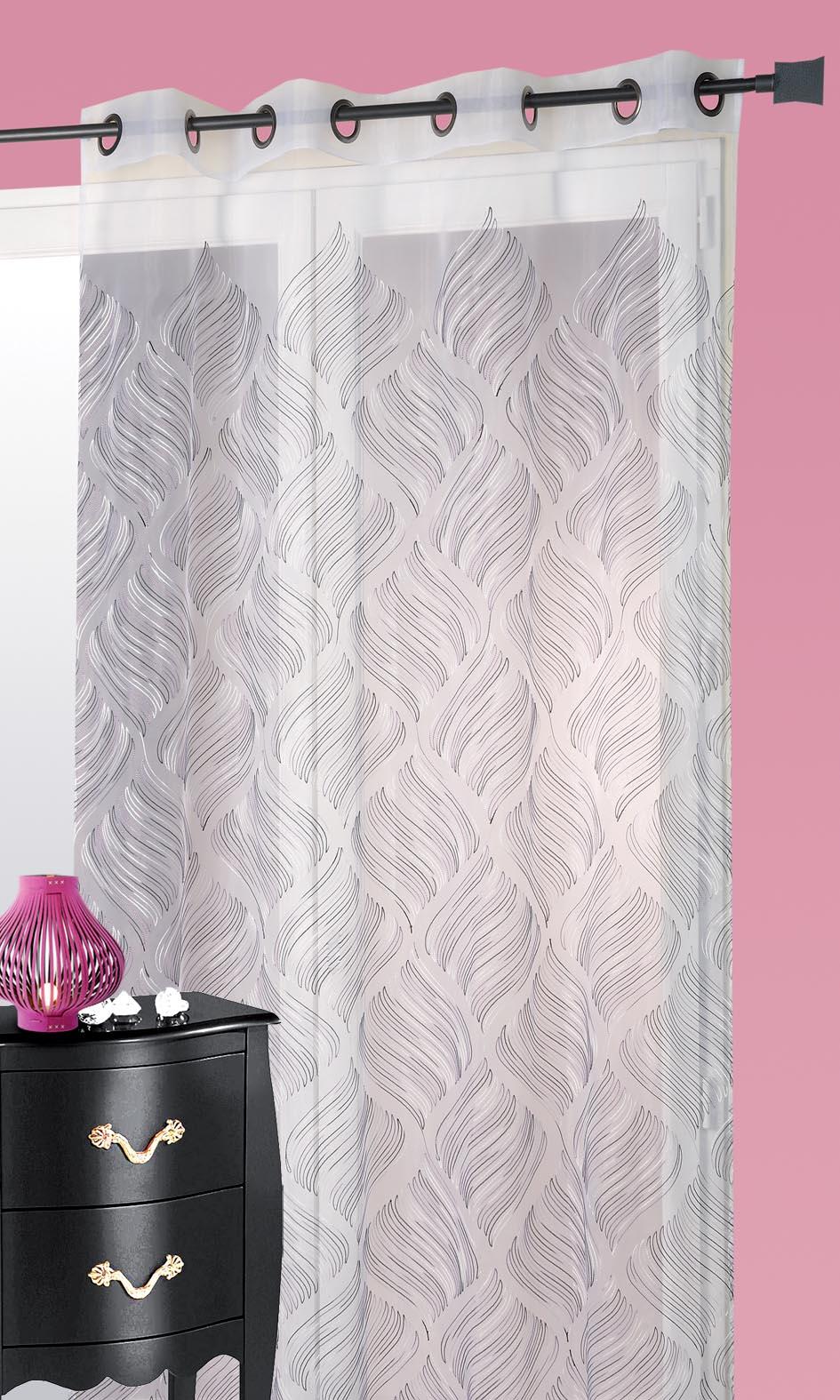 Visillo en organza bordado geom trico fiesta blanco gris for Cortina visillo blanco