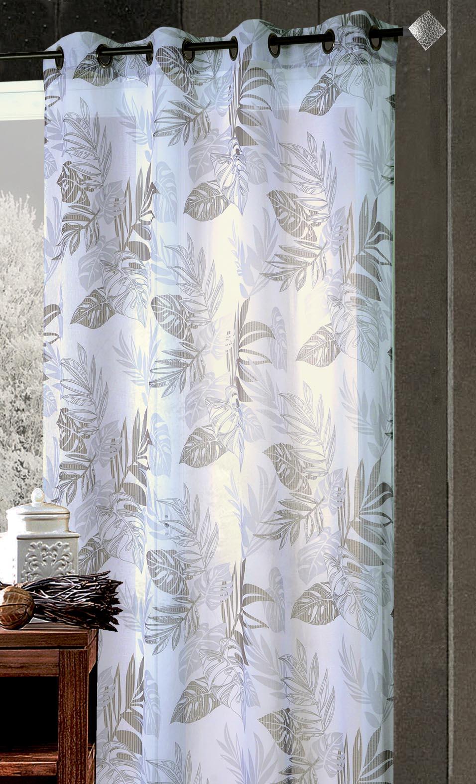 Voilage Etamine Imprimée Tropical Blanc/Gris (blanc / gris)