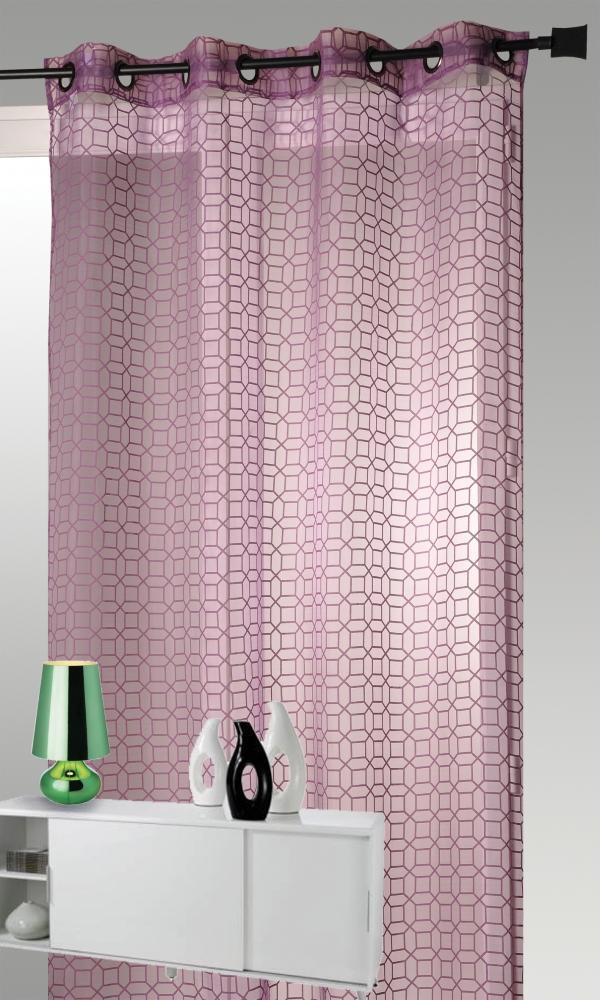 voilage en organza d vor avec motifs g om triques prune homemaison vente en ligne voilages. Black Bedroom Furniture Sets. Home Design Ideas