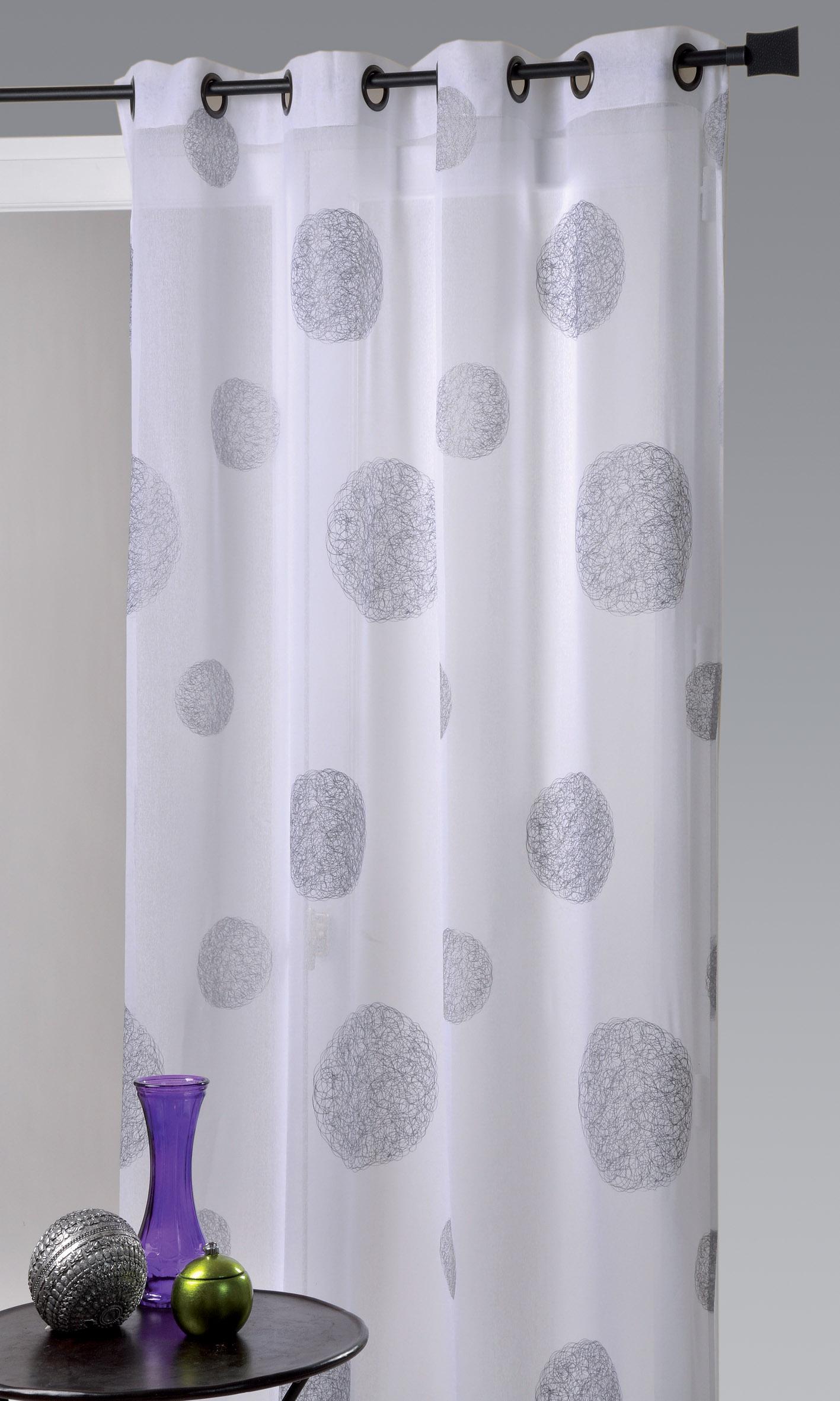 voilage blanc motif gris. Black Bedroom Furniture Sets. Home Design Ideas