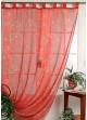 Rideau en Voile Imprimé Papillons et Herbier Rouge