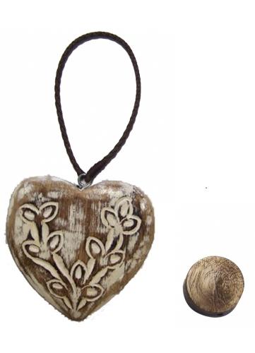 Coeur en Bois avec Double Aimants